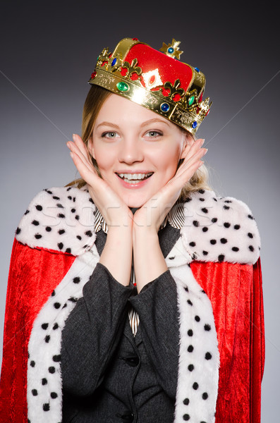 Foto stock: Coroa · cinza · negócio · mulher · menina