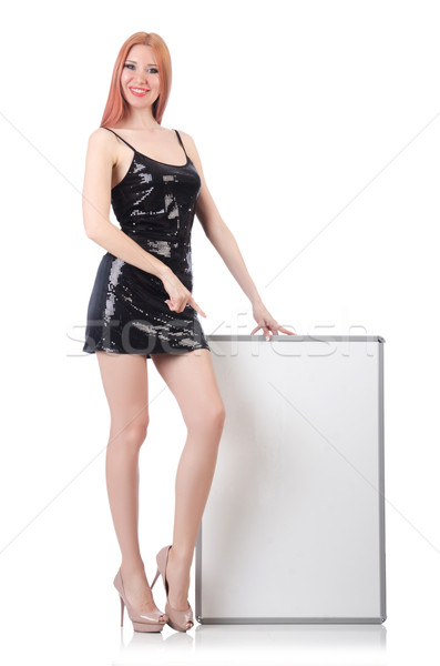 Young tall woman holding blank board isolated on white Stock photo © Elnur