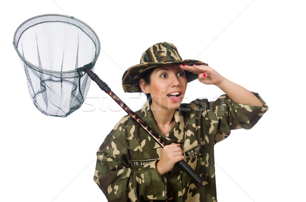 Woman in military clothing with catching net Stock photo © Elnur