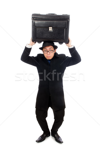 Genç çanta yalıtılmış beyaz adam Stok fotoğraf © Elnur