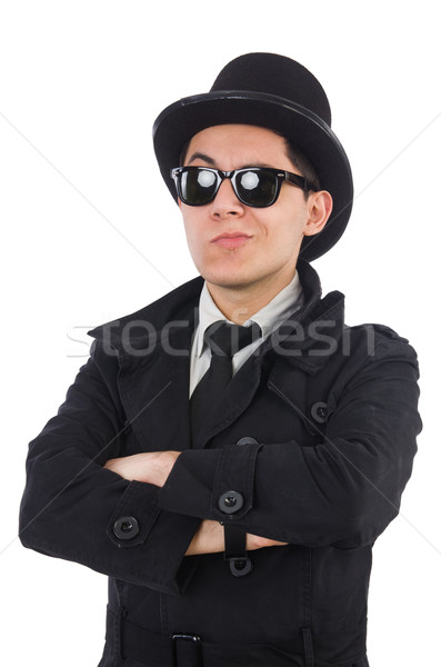 Young detective in black coat isolated on white Stock photo © Elnur