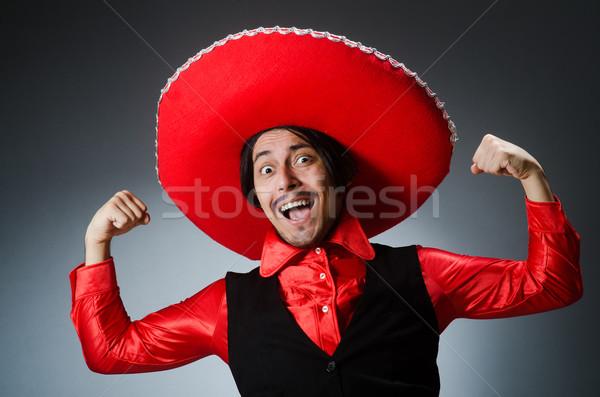 Személy visel szombréró kalap vicces boldog Stock fotó © Elnur