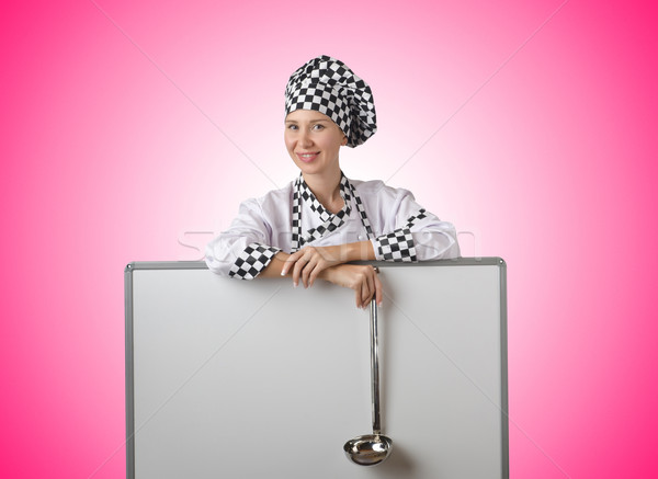 Szakács merőkanál tábla ház étel jókedv Stock fotó © Elnur
