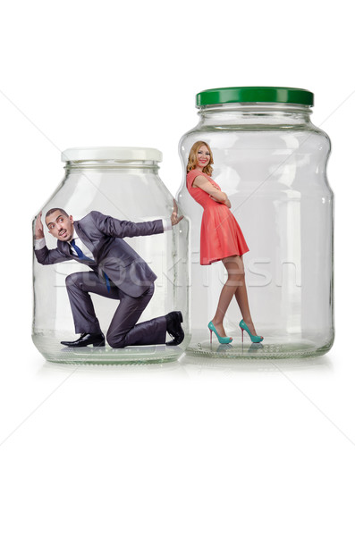 People trapped in the glass jar Stock photo © Elnur