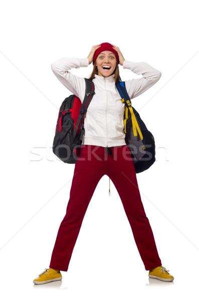 Stockfoto: Grappig · student · rugzak · geïsoleerd · witte · vrouw