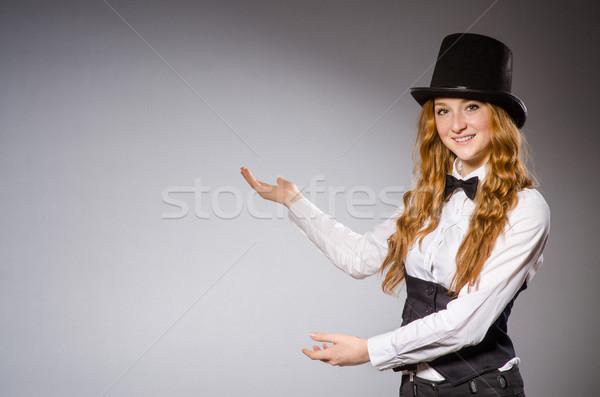 довольно девушки ретро Hat изолированный Сток-фото © Elnur