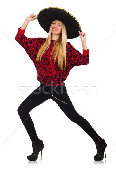 Engraçado mexicano mulher sombrero isolado Foto stock © Elnur