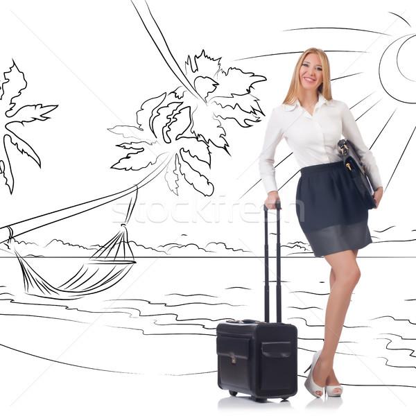Businesswoman dreaming of beach vacation Stock photo © Elnur