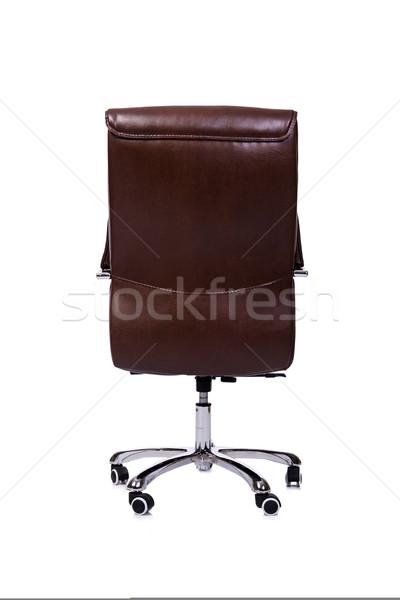 Stock fotó: Barna · bőr · irodai · szék · izolált · fehér · iroda