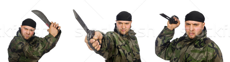 молодым человеком солдата равномерный ножом изолированный Сток-фото © Elnur