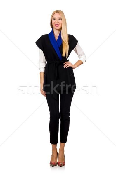 Mulher preto elegante colete isolado branco Foto stock © Elnur