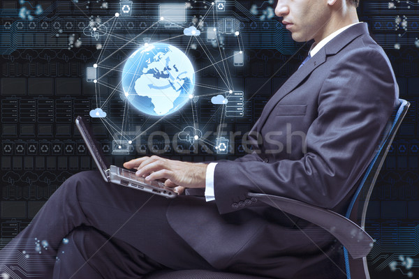 Empresário trabalhando laptop mundo tecnologia Foto stock © Elnur