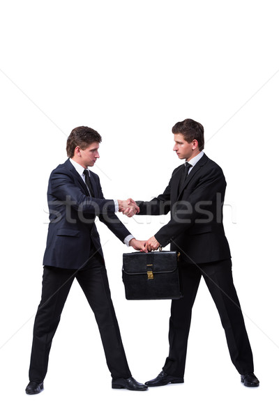 Two twin brothers handshaking isolated on white Stock photo © Elnur