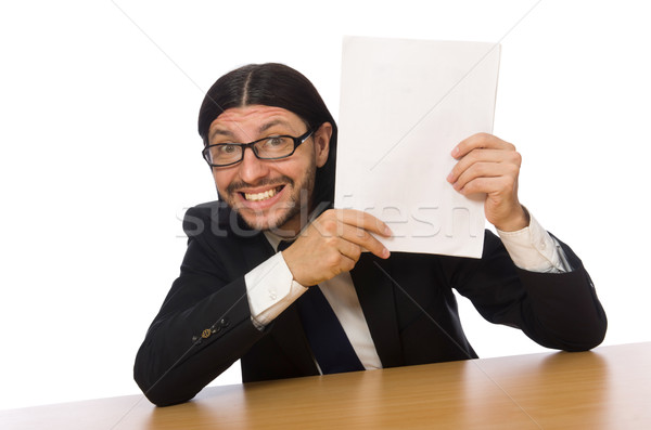 Businessman holding document isolated on white Stock photo © Elnur