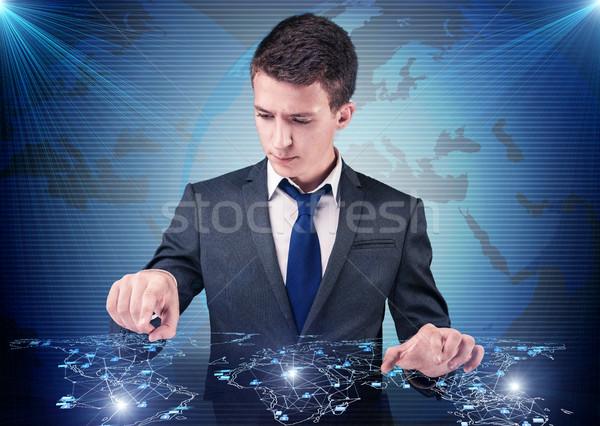 Stockfoto: Man · sociale · netwerken · internet · web · groep · mobiele
