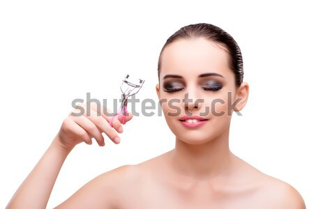 Woman with nail polish tube isolated on white Stock photo © Elnur