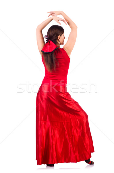 Woman dancing traditional spanish dance isolated on white Stock photo © Elnur