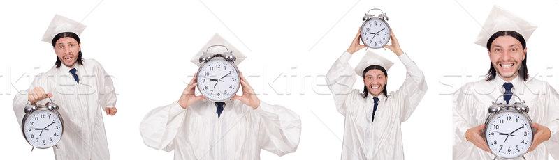 молодым человеком студент часы изолированный белый бумаги Сток-фото © Elnur