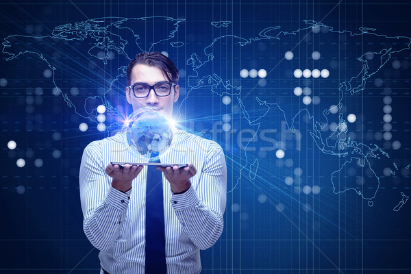 Jovem empresário global de negócios dinheiro internet trabalhar Foto stock © Elnur