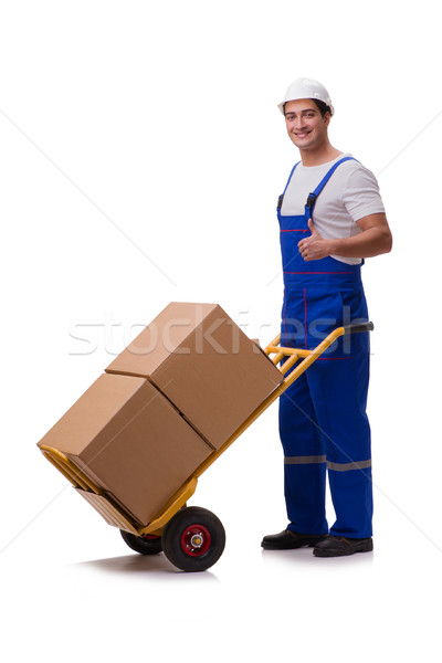 Man with boxes isolated on white Stock photo © Elnur