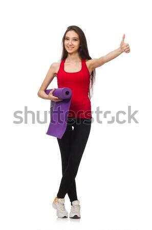 Young woman doing exercises on white Stock photo © Elnur