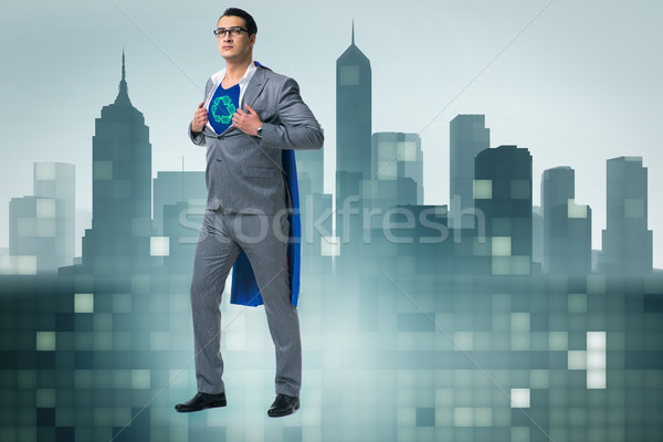 Businessman in superhero concept with red cover Stock photo © Elnur