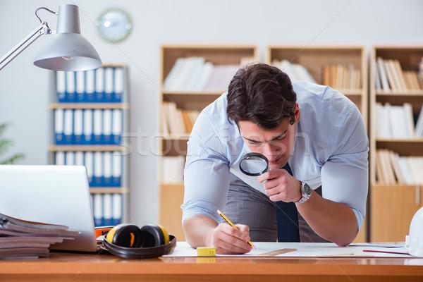 Ingeniero supervisor de trabajo dibujos oficina negocios Foto stock © Elnur
