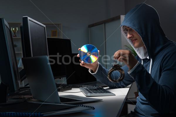 Hacker hackelés számítógép éjszaka üzlet férfi Stock fotó © Elnur