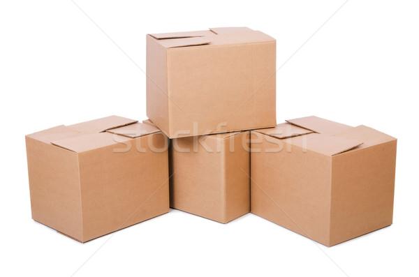 Set of boxes isolated on white Stock photo © Elnur