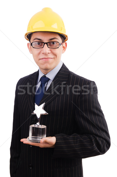 Funny guy with prize and hardhat Stock photo © Elnur