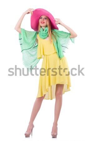 Stock fotó: Nő · Panama · kalap · izolált · fehér · lány