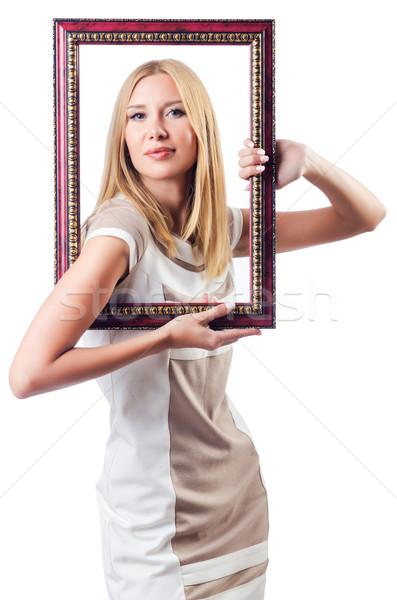 Mulher quadro de imagem branco madeira moda beleza Foto stock © Elnur