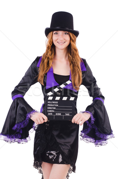 Woman with movie board isolated on white Stock photo © Elnur