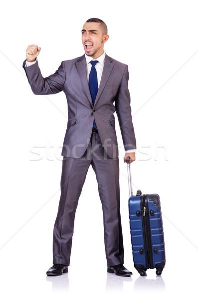 Businessman with luggage on white Stock photo © Elnur
