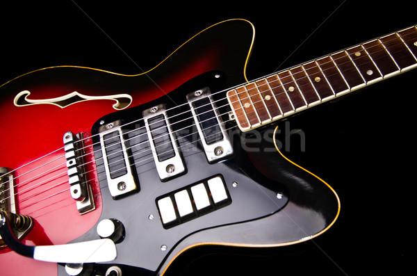 музыку гитаре древесины фон черный Сток-фото © Elnur