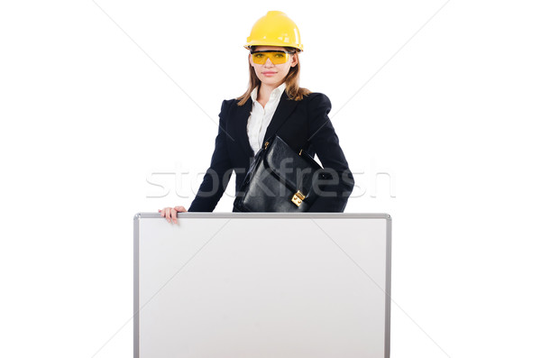 молодые строителя женщину портфеля совета изолированный Сток-фото © Elnur