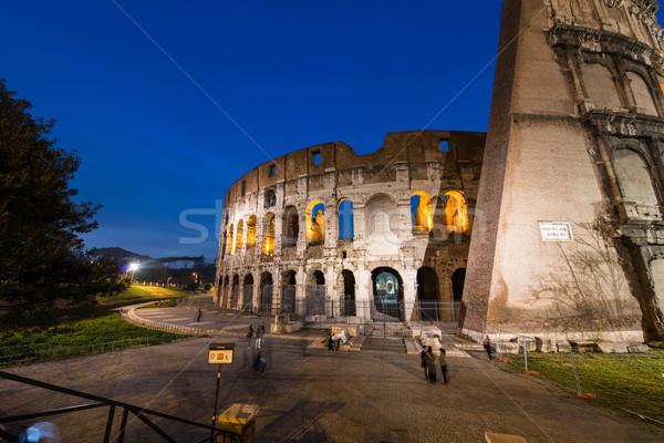 ünlü colosseum akşam Bina şehir gece Stok fotoğraf © Elnur