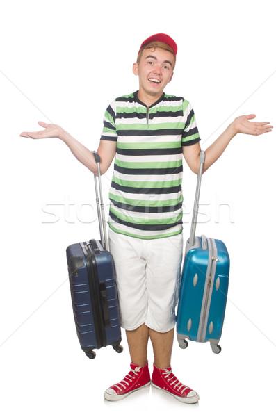 Divertente uomo valigia isolato bianco sfondo Foto d'archivio © Elnur