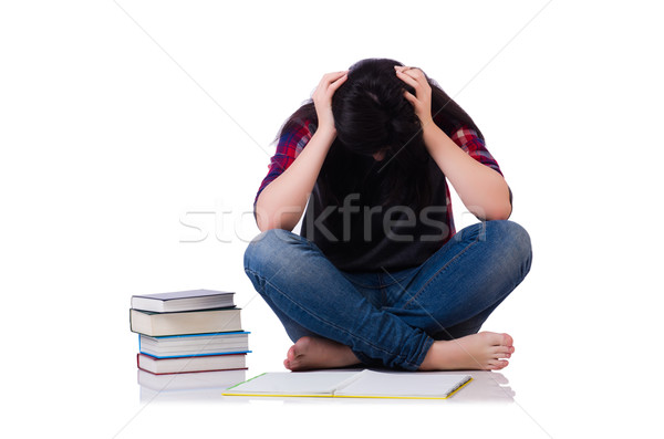 Young student with books isolated on white Stock photo © Elnur