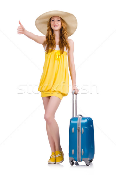 Young girl wth travel case thumbs up isolated on white Stock photo © Elnur
