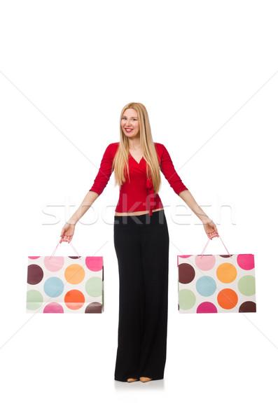 若い女性 ズボン 孤立した 白 幸せ ファッション ストックフォト © Elnur