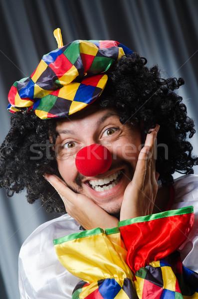Grappig clown humoristisch gordijn glimlach verjaardag Stockfoto © Elnur