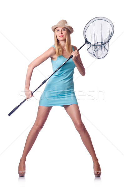Attractive woman with net on white Stock photo © Elnur
