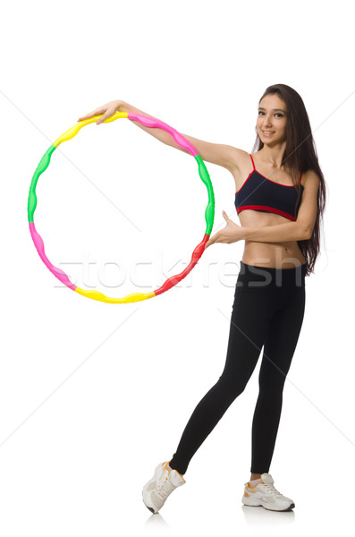 A girl in sport suit with hula hoop isolated on white Stock photo © Elnur