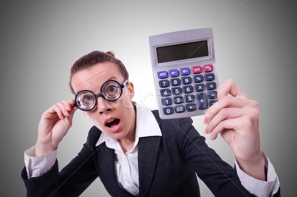 Nerd weiblichen Buchhalter Rechner Frau Geld Stock foto © Elnur