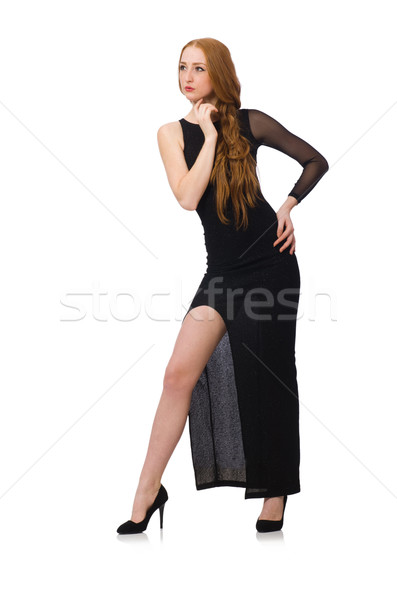 Fiatal hölgy elegáns fekete ruha izolált fehér Stock fotó © Elnur