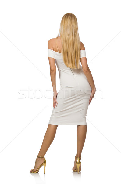 Blond hair woman in elegant dress isolated on white Stock photo © Elnur