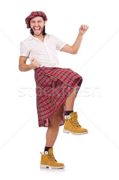 Man in scottish skirt isolated on white Stock photo © Elnur