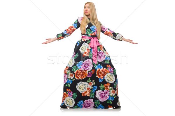 Girl in long flower dress isolated on white Stock photo © Elnur
