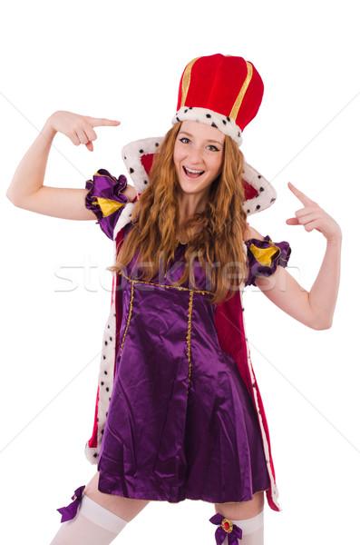 Güzel genç kraliçe mor elbise yalıtılmış Stok fotoğraf © Elnur